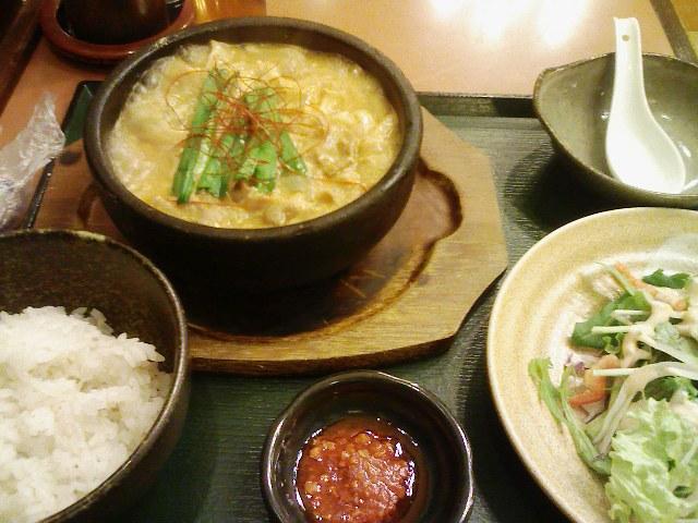 ワタミランチ・石焼チゲワンタン豆腐セット